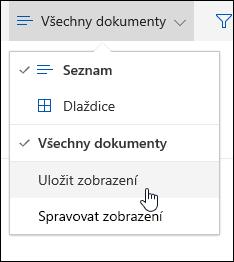 Uložení vlastního zobrazení knihovny dokumentů v Office 365