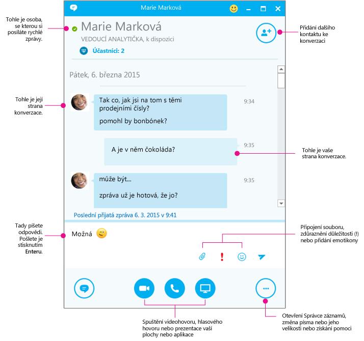 Znázorněné okno konverzace ve Skypu pro firmy