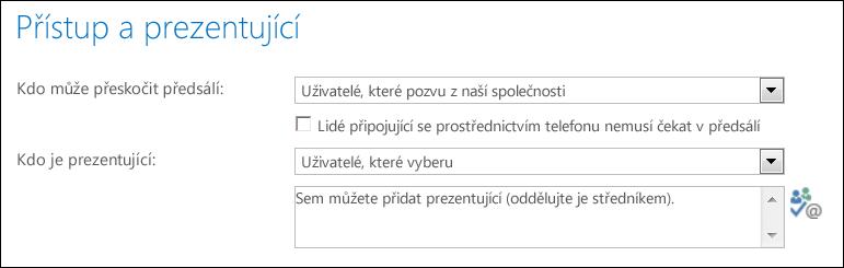 Snímek obrazovky s dialogovým oknem Přístup a prezentující