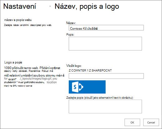 Stránka nastavení názvu, popisu a loga