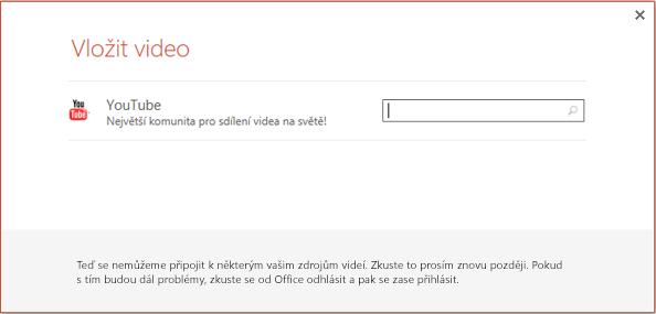 Toto je dialogové okno Vložit online video v PowerPointu 2013.