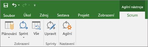 Snímek obrazovky s pásem karet Projectu se zobrazenou kartou Agilní nástroje