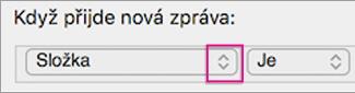 Kliknutím na dvojitou šipku otevřete seznam