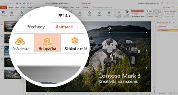 Snímek obrazovky zobrazující kartu Animace s 3D animací Houpačka vybranou v PowerPointu