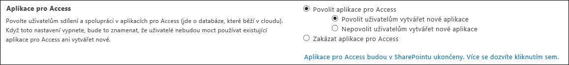 Snímek obrazovky s nastavením aplikace pro Access na stránce centra pro správu SharePointu