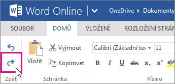 Zopakování změny ve Wordu Online