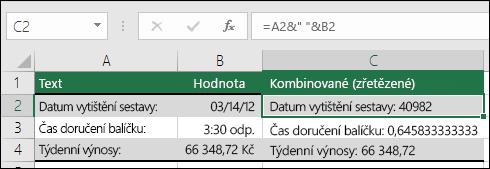 """Příklady zřetězení hodnot buněk bez použití funkce HODNOTA.NA.TEXT.  Vzorec je =A2&"""" """"&B2"""