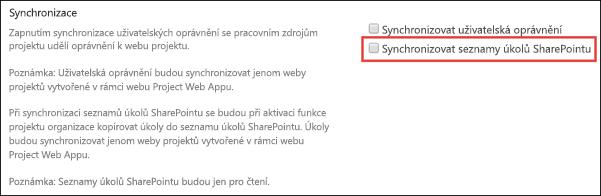 Synchronizace seznamů úkolů služby SharePoint