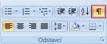 Tlačítko Zobrazit/skrýt formátování ve skupině odstavec