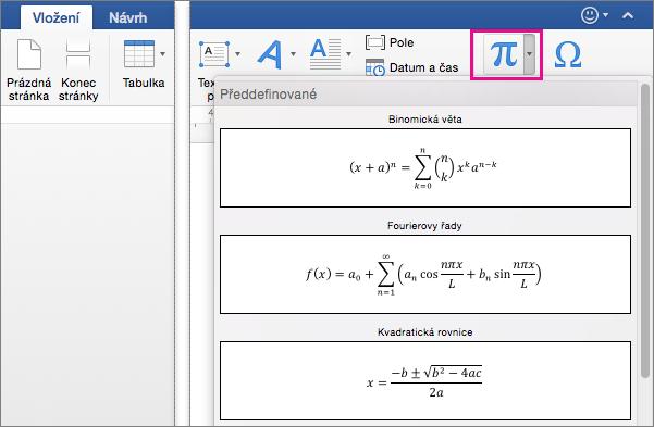 Na kartě Vložení je zvýrazněná na tlačítko rovnice.