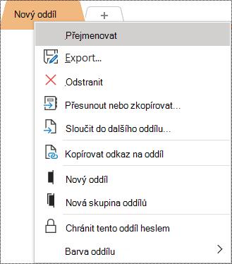 Snímek obrazovky s místní nabídkou s vybranou možností Přejmenovat