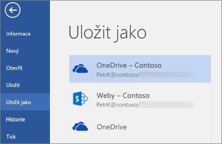 Uložení wordového souboru na OneDrive pro firmy