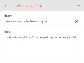 Příkaz Alternativní text na kartě Graf