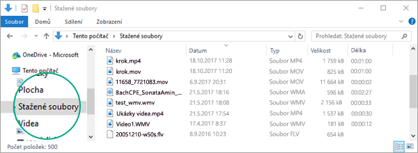 Převedený soubor se zkopíruje do složky Stažené soubory ve vašem počítači