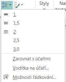 Snímek obrazovky se změnou řádkování v Publisheru