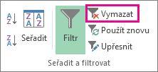 Tlačítko Vymazat filtr