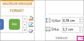 Ikona pro otevření dialogového okna ve skupině Velikost na kartě Nástroje kreslení – Formát