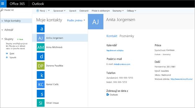 Po naimportování budou kontakty v Outlooku na webu vypadat takto.