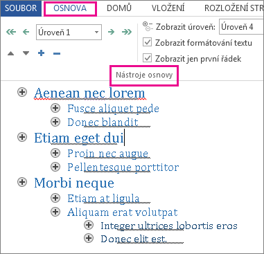 Obrázek některých nástrojů osnovy v nabídce Osnova s ukázkou osnovy (text lorem ipsum)