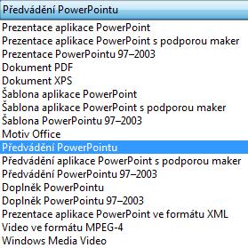 Uložte prezentaci jako Převádění PowerPointu.