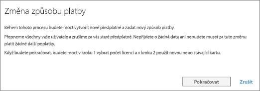Snímek obrazovky s oznámením, které se zobrazí při přepnutí z platby fakturou na platbu platební kartou