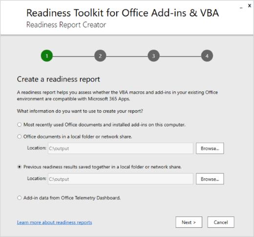 Snímek obrazovky se spuštěnou ReadinessReportCreator.exe