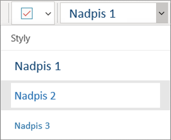 Seznam nadpisů ve OneNotu pro Windows 10