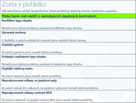 Výsledky kontroly stavu kolekce webů
