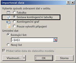 Dialogové okno Možnosti importu