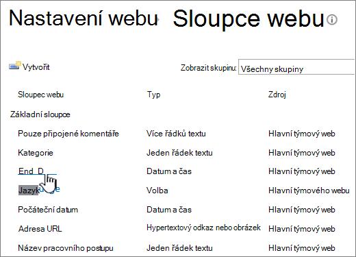 Vyhledání sloupce webu a klikněte na název