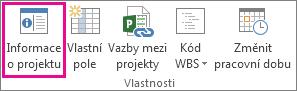 Informace o projektu na kartě Projekt