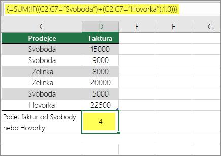 Příklad 1: funkce SUMA a KDYŽ vnořená ve vzorci