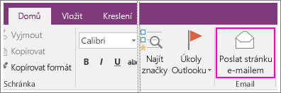 Snímek obrazovky s tlačítkem Odeslat stránku e-mailem v OneNotu 2016.