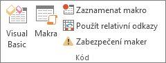 Skupina Kód na kartě Vývojář v Excelu
