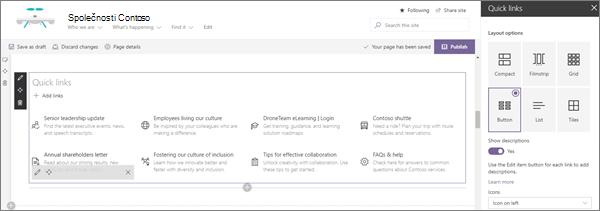 Ukázka vstupu webové části Rychlá propojení pro moderní podnikové cílové weby v SharePointu Online
