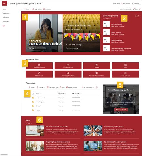 Snímek obrazovky se šablonou webu plného výukového a vývojového týmu s čísly