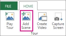 Přidání scény do prohlídky Power Mapu