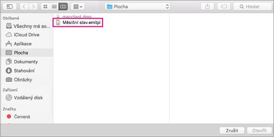 Vyberte e-mailovou šablonu, kterou chcete použít