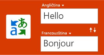 Tlačítko Translator a jedno slovo v angličtině a jeho překlad do francouzštiny
