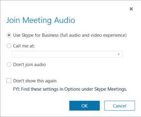 Dialogové okno Připojit se ke zvukovému přenosu schůzky ve Skypu pro firmy