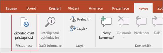 Galerie obrazovky uživatelského rozhraní aplikace Word s revize > Zkontrolovat usnadnění s červeným ohraničením okolo.