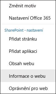 Snímek obrazovky s možností nabídky SharePointu Informace o webu