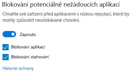 Ovládací prvek blokující potenciálně nežádoucí aplikace ve Windows 10.