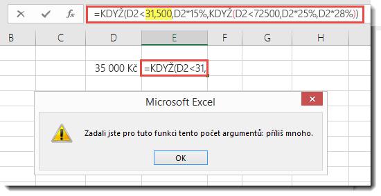 Zpráva v Excelu, když k hodnotě přidáte středník