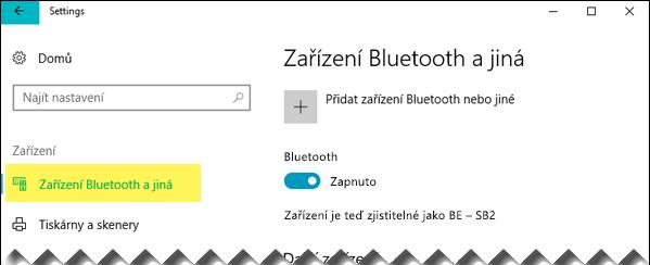 Zkontrolujte, jestli je vlevo vybraná možnost Zařízení Bluetooth a jiná.