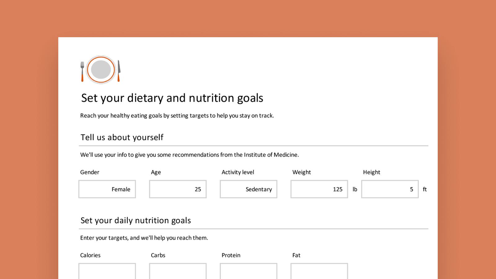 Snímek obrazovky s inteligentní šablonou Sledování nutričních údajů.