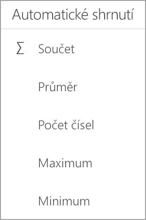 Součet v Excelu pro Android