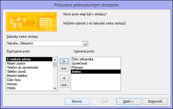 V dialogovém okně Průvodce jednoduchým dotazem vyberte pole, která chcete použít.