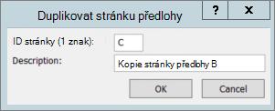 Snímek obrazovky znázorňuje dialogové okno duplicitní stránky předlohy.