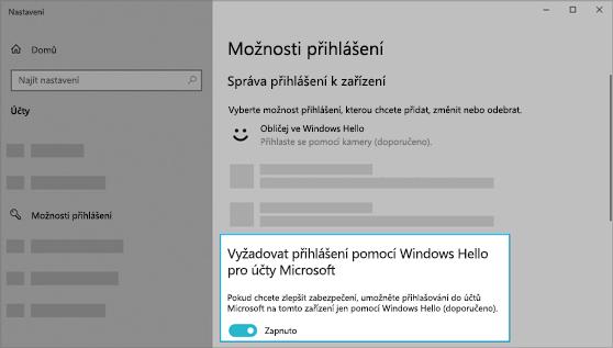 Zapnutá možnost přihlašování pomocí Windows Hello pro účty Microsoft.